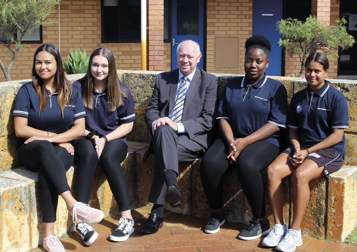 Commissioner Colin Pettit and students from Girrawheen Senior High School