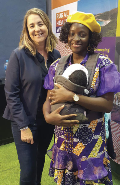 Olumuyiwa and his wife, Amoke, welcome a baby into the family this year. Amoke is pictured here with Rural Health West's family coordinator Jen Maughan at the Dowerin Field Day this year.