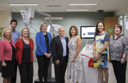 From left: SJG Subiaco CEO Prof Shirley Bowen, Dr Lee Jackson, Prof Christobel Saunders, SJG Foundation CEO Bianca Pietralla, donors Robert and Maria Carcione, Dr Yvonne Zissiadis and Dr Margaret Latham