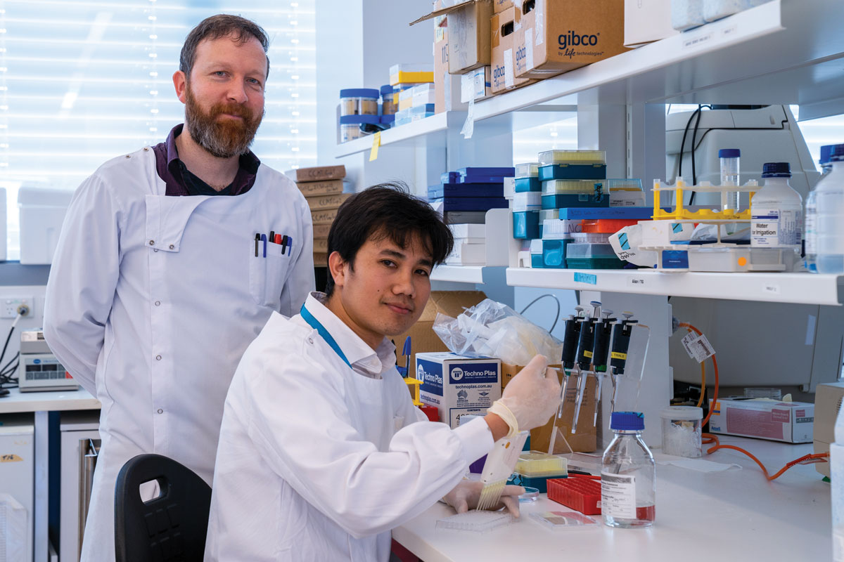 A/Professor Alistair Cook and UWA PhD student Synat Keam